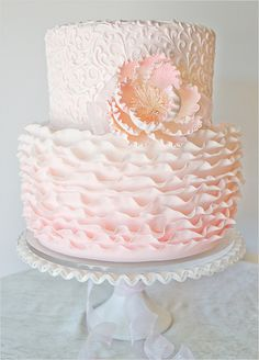 The Pastry Studio  located in Daytona Beach, Florida whipped up this exquisite Pink Ombre Ruffle Cake. So incredibly perfect for a soft and romantic wedding. My Website //www.simplycoutureweddings.com