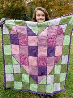 Crochet - Children & Baby Patterns - Blankets - Patchwork Heart Baby Blanket