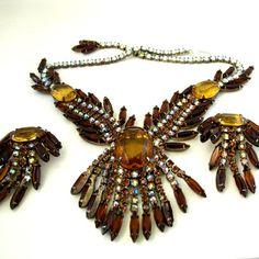Vintage Massive Amber Rhinestone Dangle Necklace and Earring Set  http://www.rubylane.com