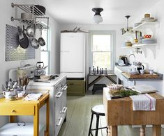 Try these and more for your vintage kitchen makeover. You can look into more such cool vintage kitchen ideas from the gallery below. Rustic Kitchen, New Kitchen, Vintage Kitchen, Kitchen Dining, Kitchen Decor, Kitchen White, Funky Kitchen, Cozy Kitchen, Kitchen Island