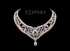 Swarovski ballroom necklace. Ballroom jewelry, ballroom accessories. www.tzafora.com Copyright © Tzafora