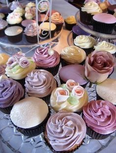 cupcakes - pink and lavender palette (ideas for baby shower)