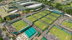 ariel view of Wimbledon Tennis Museum in London-Visit the leafy London suburb of Wimbledon and go behind the scenes at the iconic tennis venue to discover the traditions and triumphs that have made Wimbledon the most coveted trophy in the sport. Learn about the modern-day sport as well as the history of the game at this fascinating museum. #LearnAboutTennis