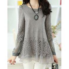 Long Sleeve Lace Embellished Solid Color Skirt Hem Women's T-shirt | TwinkleDeals.com