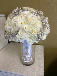 Stunning Ivory and White with Silver Bling Bridal Bouquet By Tustin  Florist