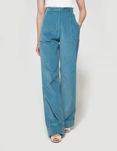 From Trademark, a high-waisted corduroy pant in Light Blue. Featuring a zip fly…