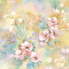 Romantic Watercolor Flowers Decoupage Paper Napkins  Set by YWart