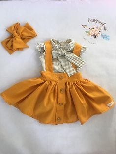 Suspender skirt Etsy :: Your place to buy and sell all things handmade Frocks For Girls, Little Girl Outfits, Little Girl Dresses, Toddler Outfits, Baby Outfits, Kids Outfits, Cute Outfits, Baby Dresses, Baby Girl Fashion