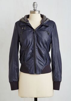 Moto City Jacket - Blue, Grey, Solid, Buttons, Exposed zipper, Pockets, Casual, Menswear Inspired, Long Sleeve, Fall, Faux Leather, Knit, Better, Collared, 2, Short, Urban