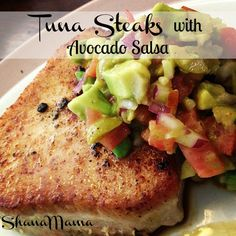 4 Points About Vintage And Standard Elizabethan Cooking Recipes! Shanamama: Tuna Steaks With Avocado Salsa Recipe. Goodness My Word, I Have To Go Make This Right. Tuna Steak Recipes, Fish Recipes, Seafood Recipes, Paleo Recipes, Cooking Recipes, Ahi Tuna Steak Recipe, Grilled Tuna Steaks, Meat Recipes, Steak