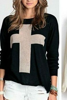 Black Cross Pattern Pullover Sweater