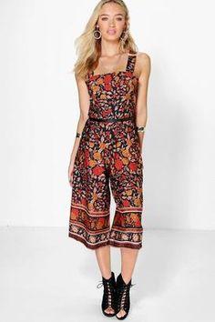"""boohoo Abbie Floral Border Print Cut Out Culotte Jumpsuit "" https://www.shopstylecollective.com/search?fl=r1745"