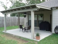 Covered patio using Snap-N-Lock™ SIP roof, square columns and Permawood scalloped rafters.