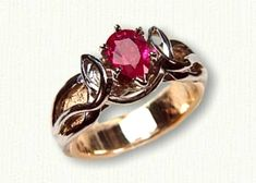 14kt Yellow Gold Celtic Julieanne Engagement Ring set with a Pear Shaped Ruby