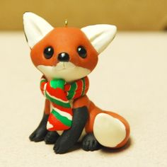 Cute fox ornament, easy to make with polymer clay.