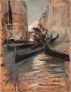 Giovanni Boldini - Canale a Venezia con gondole, Giovanni Boldini, Thomas Gainsborough, Italian Painters, Italian Artist, Post Impressionism, Belle Epoque, Cool Art, Art Photography, Horror
