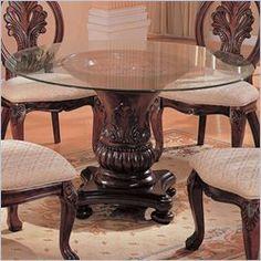 Coaster Tabitha tradicional mesa redonda de comedor con tapa de cristal en color cereza Acabado