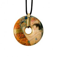 """Goebel - Artis Orbis - Gustav Klimt - Three Ages of a Woman - Necklace - Necklace with porcelain amulet showing """"Three ages of woman"""" by Gustav Klimt. Anti-allergic metal components, nickel free, gold coated. Textile cord with fastening - 58 cm. Diameter: 4.5 cm."""
