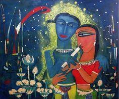Paresh-Hazra-Spring-I #OldEgg on #Tempera #Painting #Art #IndianArt #Eikowa EK-15-0038-ET-0005-48x40