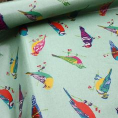 Echino Print Oilcoth Blue Birds - Laminated Fabric - Fabric Tablecloth material