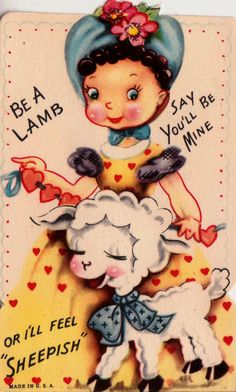 Vintage Be A Lamb Say You'll Be Mine Or I''ll by poshtottydesignz