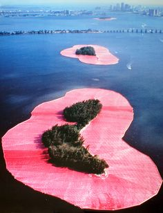 Christo and Jean-Claude--wrapped islands.  LOVE ephemeral environmental art.  So powerful.  Such a fantastic tool to help us see life differently.