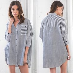 """Saturday Morning"" Stripe Shirt ✨5X Host Pick✨Oversized boyfriend stripe shirt with 3/4 sleeve. Really comfortable and so many ways to style it! Put your chic look on! • 100% Cotton • BUNDLE & SAVE 10% Wild Dreams Tops Button Down Shirts"
