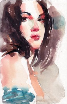 Watercolor portrait of Tanush Grice by Alex Bodnar Watercolor Portrait Painting, Watercolor Girl, Watercolor Fashion, Watercolor Drawing, Portrait Art, Life Drawing, Figure Drawing, Islamic Art, Watercolours