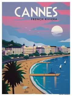 Image of Cannes Poster - Atlanta Vintage Travel - College Football, Atlanta Landmarks Poster Art, Art Deco Posters, Poster Prints, Modern Posters, London Poster, Santorini Travel, French Collection, Vintage Hawaii, Vintage California