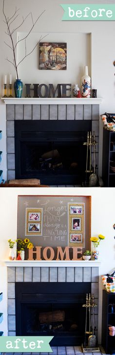 Before and after of a fireplace mantel makeover. Click to see how we did it! http://www.create-ologie.com/blogs/news/9024263-creating-a-focal-point-using-your-fireplace