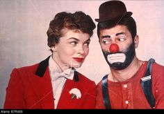 THREE RING CIRCUS (1956)  - Ringmaster Joanne Dru with circus clown Jerry Lewis - Paramount - Publicity Still.