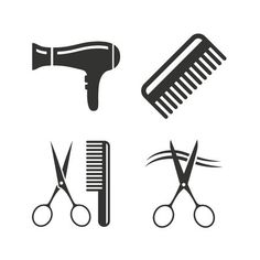 Hairdresser icons. Scissors cut hair symbol. Comb hair with hairdryer..