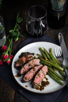 Coffee-Crusted Duck with Balsamic-Brandy Sauce {Katie at the Kitchen Door} #valentines