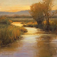 Dusk on the Creek by Kim Casebeer Oil ~ 12 x 12