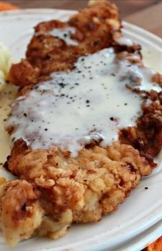 Marvelous Country Fried Pork Chops with White Gravy _ It's served up with a basic white gravy that goes perfectly with it. …very good The post Country Fried Pork Chops with White Gravy _ It's s . Thin Pork Chops, Pan Fried Pork Chops, Pork Chops And Gravy, Chicken Fried Steak, Pork Loin, Pork Chop Recipes, Meat Recipes, Pork Meals, Dinner Recipes