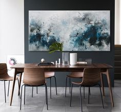 abstract seascape painting blue grey black by ElenasArtStudio