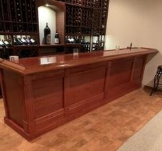Finished Bar Gallery - Hardwoods Incorporated Basement Bar Designs, Home Bar Designs, Man Cave Basement, Basement House, Wooden Bar Top, Home Bar Plans, Diy Home Bar, Bar Rail, Pub Table Sets