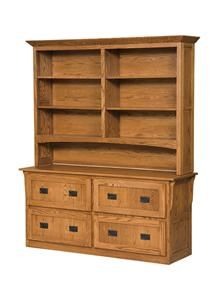 This is just what I want on the long wall in my office - would need 2 -Amish 4 Drawer Mission Lateral File Cabinet with Bookcase Top
