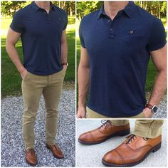Spring Uniform A simple and stylish spring uniform is a polo shirt, chinos, and dress shoes. And makes some of the best quality polos and chinos that I've found. They have a ton of great pieces Work Polo Shirts, Polo Shirt Outfits, Polo Outfit, Outfit Jeans, Stylish Men, Men Casual, Herren Outfit, Men Dress, Dress Shoes