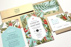 Tropical Wedding Invitation, Destination Wedding Invitation, Beach Wedding Invitations, tropical flowers, palms - DEPOSIT