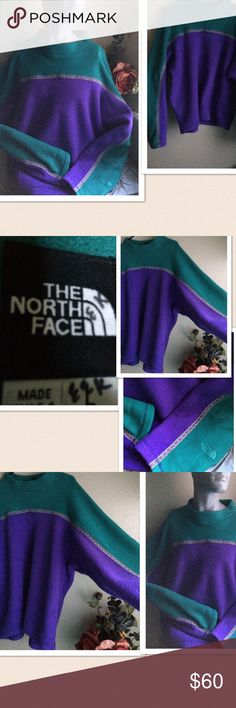 "Vintage The Northface Fleece Pullover Vintage The Northface Fleece Pullover. Round neck with a 1.5"" height. The sleeves are wide. Signature logo on the bottom of the left sleeve. Color: Greens & Purple. Material:  % polyester. Size: Large. pit- pit: 28"" length: 27"". Gently preowned. Excellent condition. The North Face Jackets & Coats"