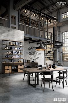 Give Your Rooms Some Spark With These Easy Vintage Industrial Furniture and Design Tips Do you love vintage industrial design and wish that you could turn your home-decorating visions into gorgeous reality? Industrial Design Furniture, Industrial House, Industrial Interiors, Industrial Loft Apartment, Industrial Workspace, Industrial Chic Decor, Industrial Kitchen Design, Industrial Farmhouse, Loft Interior Design