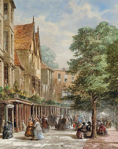 The Pantiles, Tunbridge Wells, Kent - Louise Rayner Great Paintings, Watercolor Paintings, Cityscape Art, Tunbridge Wells, Romantic Scenes, Art And Architecture, Landscape Art, Old Photos, Art Gallery
