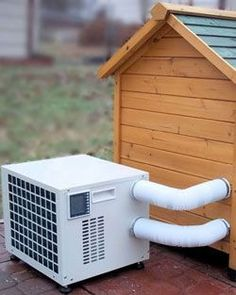Insulated Dog House – Do I Really Need It? 7 Step Guide To Help You Decide Dog House Heater & Air Conditioner Combo Unit. Outdoor Dog House For Multiple Dogs Dog House Heater, Canis, Fu Dog, Cool Dog Houses, Air Conditioner Heater, Dog House Air Conditioner, Dog Rooms, Animal House, Dog Behavior