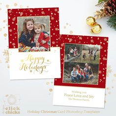 Holiday Card Template for Photographers  by ClickChicksDesigns