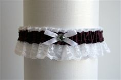 Plum Satin Garter with White Lace