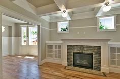Box Beam Celing Oversized Mantle And Built Ins Checked All The Craftsman Style Boxes I Love Ceiling Fireplace