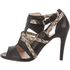 Pre-owned House of Harlow 1960 Multistrap Cage Sandals ($95) ❤ liked on Polyvore featuring shoes, sandals, animal print, leather sandals, leather strap sandals, buckle sandals, black shoes and black leather shoes