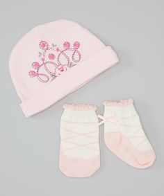 Look at this Lovespun Pink Princess Beanie & Socks on #zulily today!