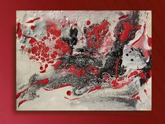 50inch White and Red Art Abstract Painting Watercolor